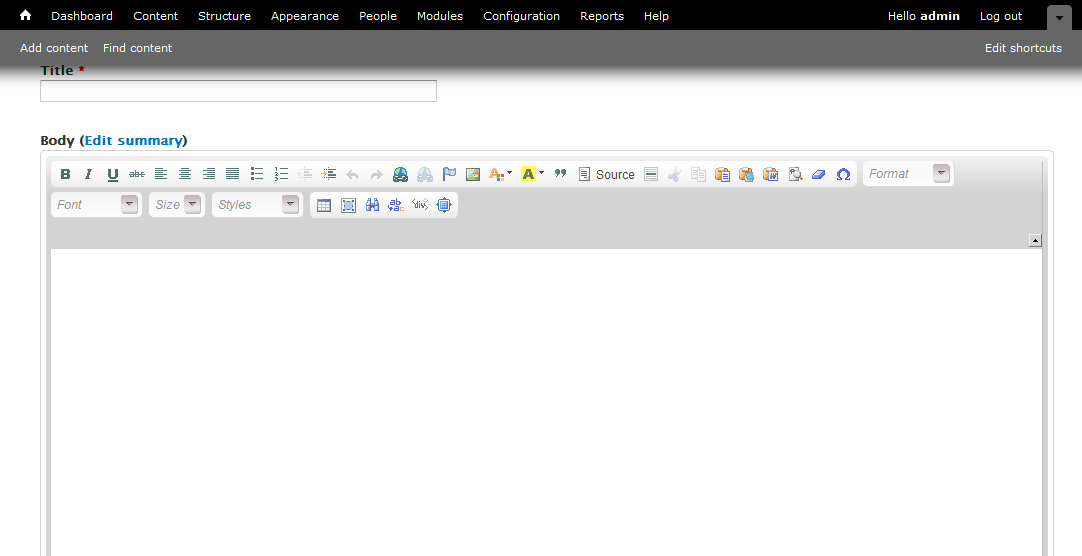 Image of the WYSIWYG editor