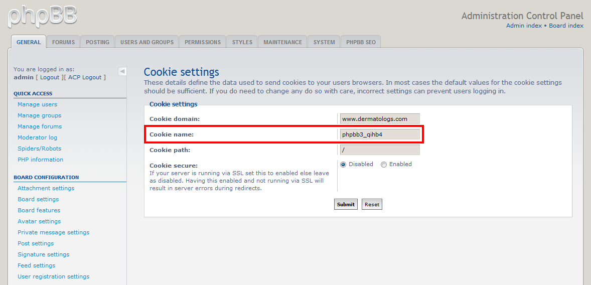 Image of the cookies settings