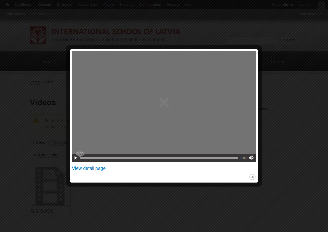 Image of the mediaelement player failing to load