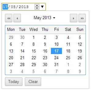 Image of the Chrome datepicker